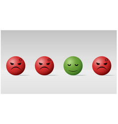 calm face ball among angry face balls background vector image
