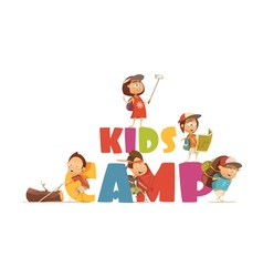 Camping kids concept vector