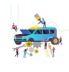 Car service having their repaired cartoon people vector