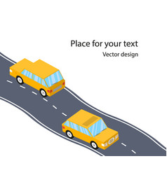 cars on the road the highway flat 3d isometric vector image