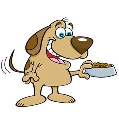 Cartoon dog holding a dog food dish vector image