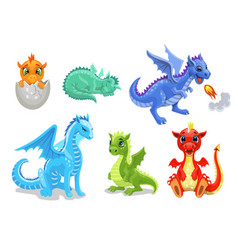 Cartoon dragon set fairy cute dragonfly icons vector
