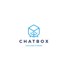 Chat box cube social talk bubble logo icon vector