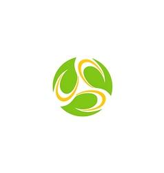 Circle leaf bio organic technology logo vector