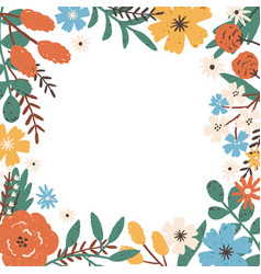 Colorful frame border with different blooming vector