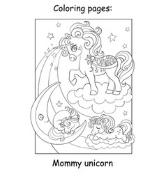 coloring book page mommy unicorn with babies vector image