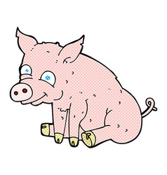 comic cartoon happy pig vector image