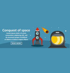 Conquest of space banner horizontal concept vector