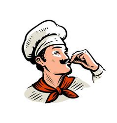cook logo chef prepares delicious dish vector image