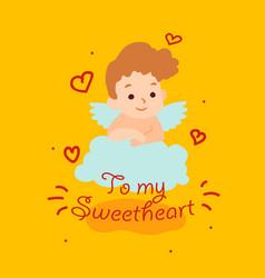 cute cupid angel flies on a cloud happy vector image
