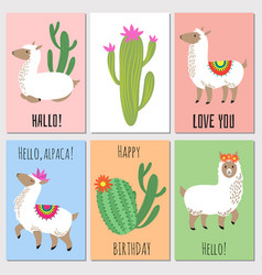 Cute mexican alpaca kids invitation cards vector