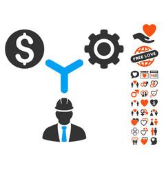 Development relations icon with valentine bonus vector
