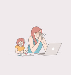 distant working with child freelance and stay at vector image