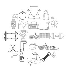 do sport icons set outline style vector image