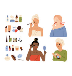 Female care makeup process skin cares cosmetics vector