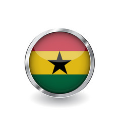 flag of ghana button with metal frame and shadow vector image