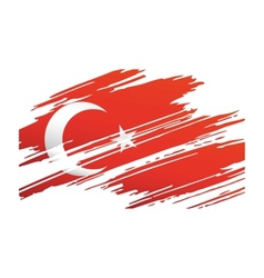 Flag turkey in the form traces brush vector