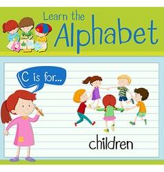 Flashcard alphabet C is for children vector