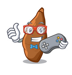 gamer ripe cassava on the cartoon table vector image