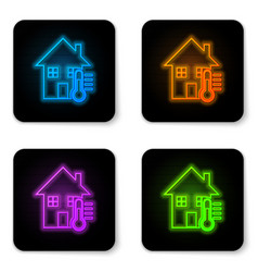 glowing neon house temperature icon isolated on vector image