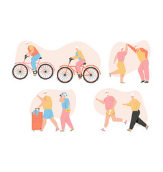 Grandparents active healthy lifestyle set happy vector