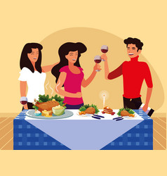 Group of friends celebrating thanksgiving vector