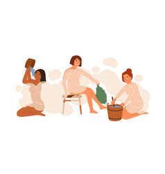group woman in public bathhouse or banya full vector image