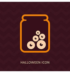 Halloween eye glass jar silhouette icon vector