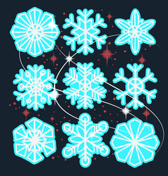 hand drawn snowflakes snow set collections vector image