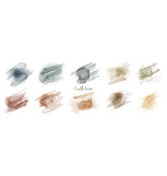 Hand painted green brown earth tone watercolor set vector