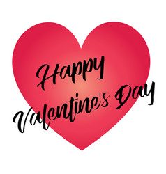 Hand written happy valentines day on red heart vector