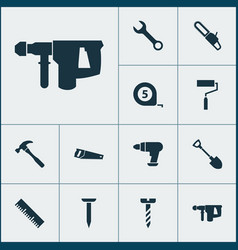 handtools icons set with tape measure roller vector image
