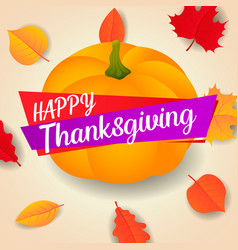 happy thanksgiving pumpkin concept background vector image