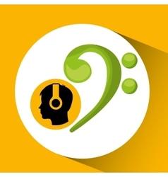 Head silhouette listening music symbol vector