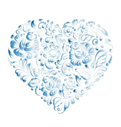 Heart of flowers gzhel vector image