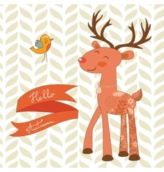 Hello autumn concept card with cute deer vector image vector image