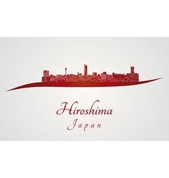 Hiroshima skyline in red vector