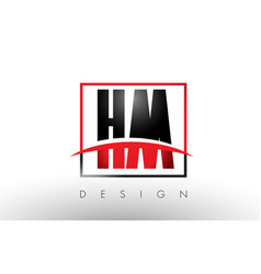 hm h m logo letters with red and black colors vector image