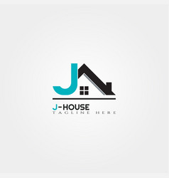 House icon template with j letter home creative vector