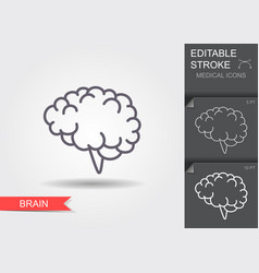 human brain linear medical symbols with editable vector image