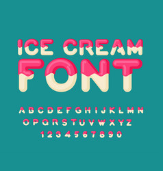 Ice cream font popsicle alphabet cold sweets abc vector