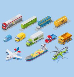 isometric logistic transportation set vector image