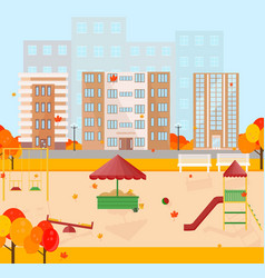 kindergarten in autumn season background vector image
