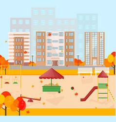 kindergarten in autumn season background vector image