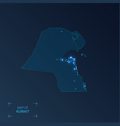 kuwait map with cities luminous dots - neon vector image
