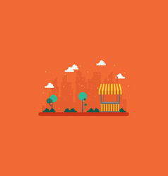 Landscape of city with street stall vector