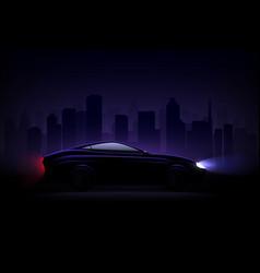lightened car night city realistic vector image