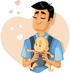 Loving father holding baby vector