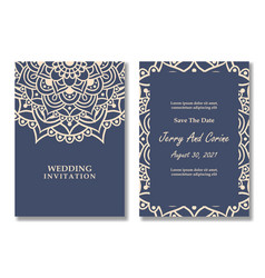 Luxury mandala wedding invitation card template vector