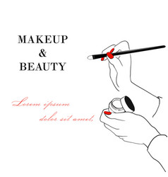 makeup and beauty banner women s hand with makeup vector image